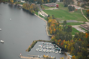 <b>Aerial view of Deep River&#039;s waterfront, marina and Mackenzie Community School courtesy of Bill Seddon.</b>