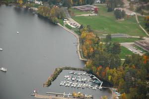 <b>Aerial view of Deep River's waterfront, marina and Mackenzie Community School courtesy of Bill Seddon.</b>
